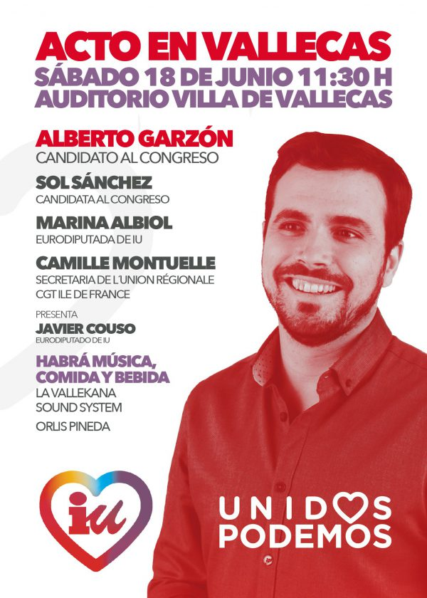 Acto en Vallekas de IU - Unidas Podemos
