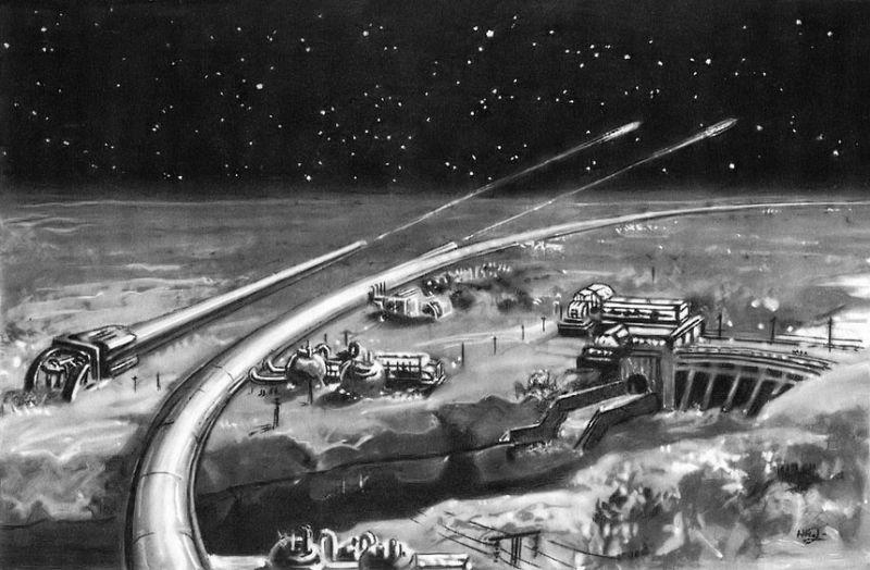 Una base con un túnel circular, por N. Kolchitsky, 1949