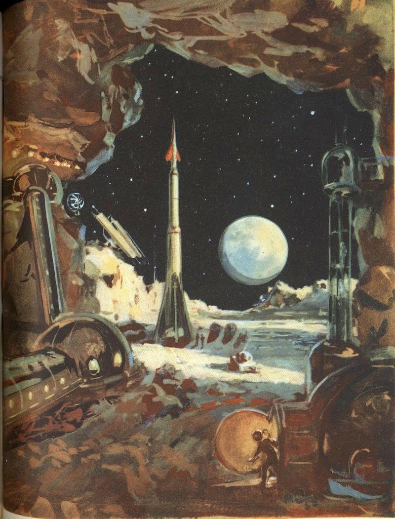 Viajes desde el Espacio, escrito por M. Vasilijev, ilustrado por A.S.Sysoyev, N.V. Shchelznyaka y N.M. Kolchitskogo, 1958