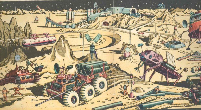 Estación Lunar, un libro infantil soviético de Pavel Klushantsev, 1965 y 1974