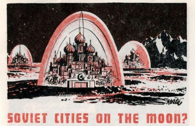 """ilustración sobre """"¿Ciudades soviéticas sobre la luna?"""", un artículo en la revista americana sobre ciencia Science Digest, febrero 1958"""