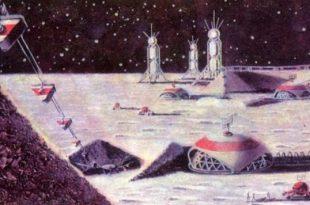 Una instalación minera en la Luna, de Los Hitos de la Época Espacial, 1967, por M. Vasiliev