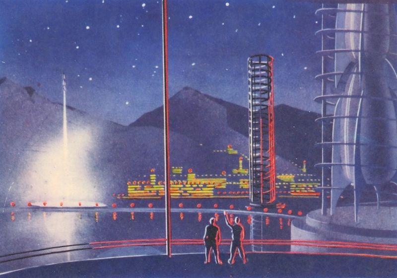 Bases en los planetas exteriores, imaginado por Andrei Sokolov, mitad de los 60s
