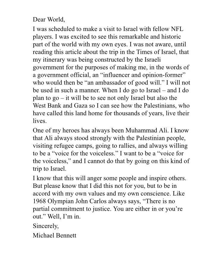 Michael Bennett letter