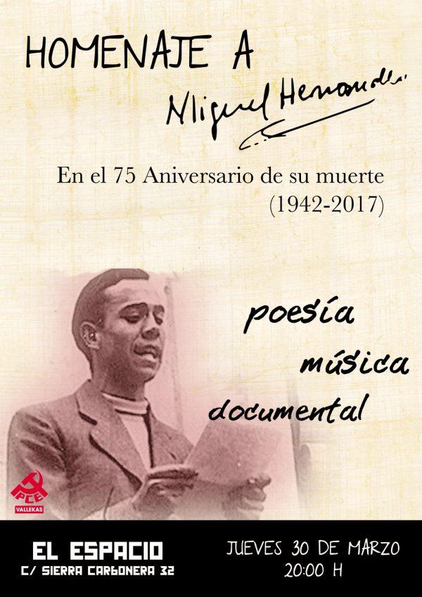 Homenaje a Miguel Hernández con motivo del 75 Aniversario de su muerte