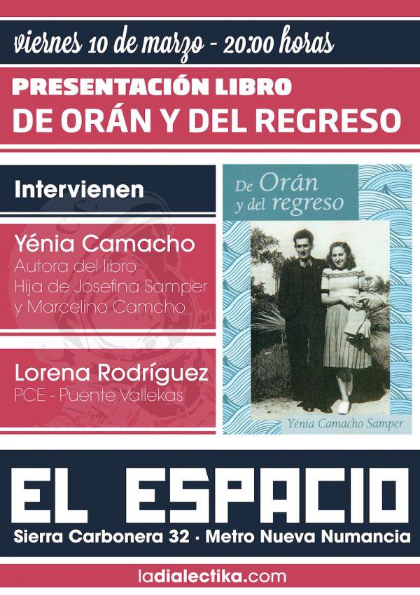 """Presentación libro """"De Orán y del regreso"""" de Yénia Camacho Samper"""