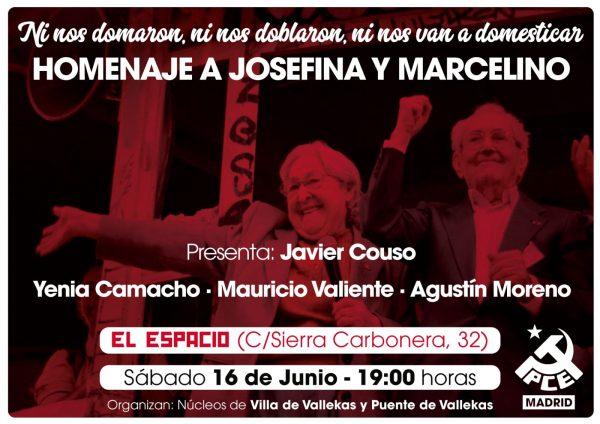 Homenaje en Vallekas a Josefina Samper y Marcelino Camacho