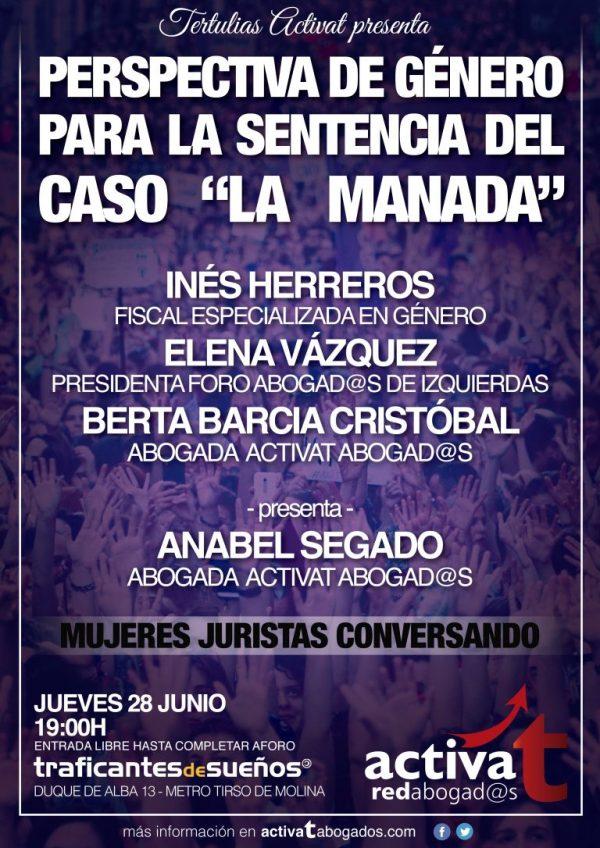 """Tertulias ActivaT presenta """"Perspectiva de género para la sentencia del caso 'La Manada'"""""""